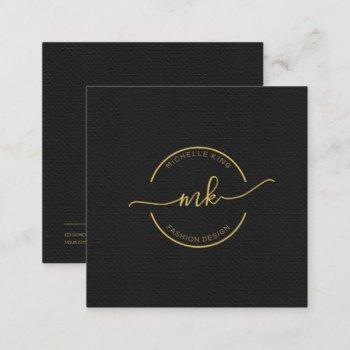 circle and swashes monogram gold on black sq id448 square business card
