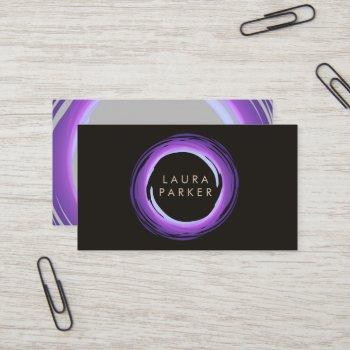 circle modern watercolor purple grey professional business card