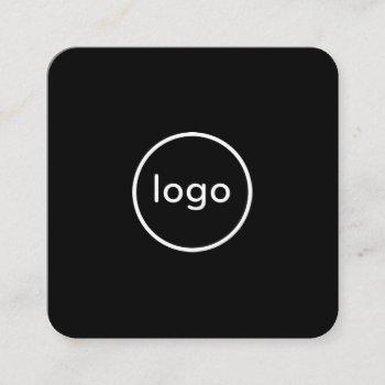 circle professional black add your custom logo square business card