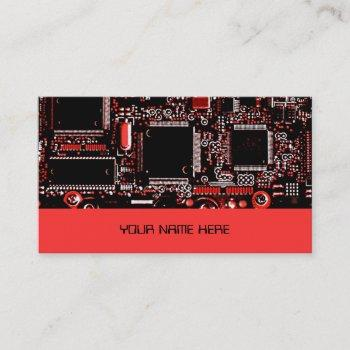 circuit red 2 business card template red