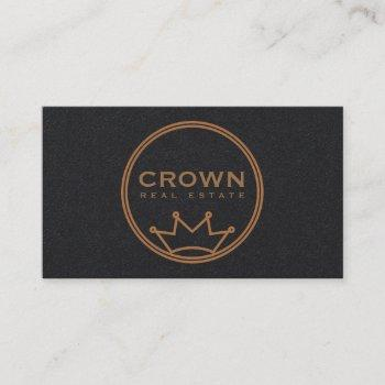 circular crown logo business card