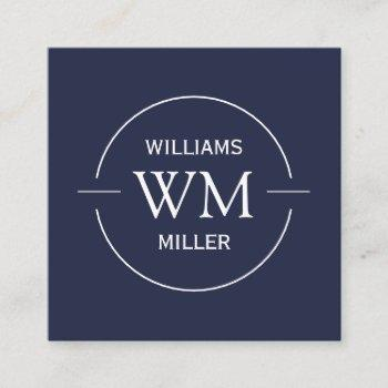 circular initial modern square navy -business card