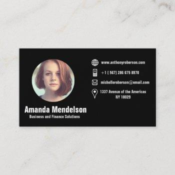 circular photo frame and social media icons business card