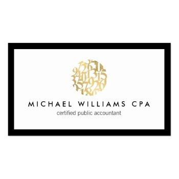 Small Classic Faux Gold Numbers Logo Accountant Business Card Front View