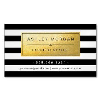 classic golden label with black white stripes magnetic business card