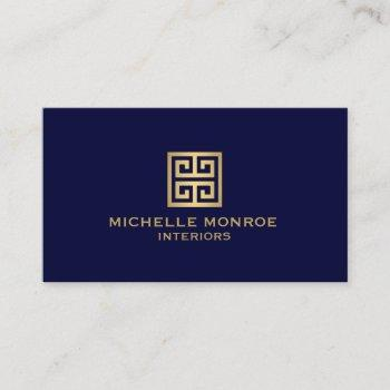 classic greek key designer logo gold/navy blue business card