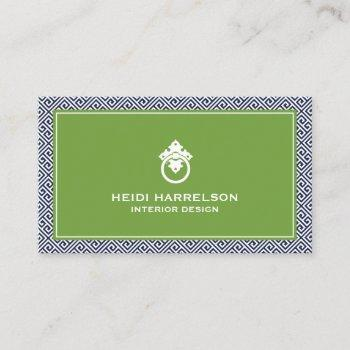 classic greek key pattern door knocker blue/green business card