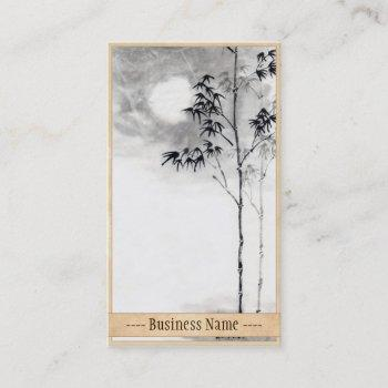 classic  japanese sumi-e painting art bamboo moon business card