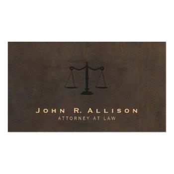 Small Classic Justice Scale Brown Leather Look Attorney Business Card Front View