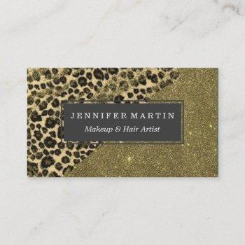 classic leopard print brushstrokes on faux glitter business card