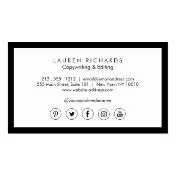 Small Classic Luxe Black And White With Social Media Business Card Back View