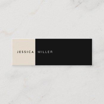 classic modern layout black & beige social media mini business card