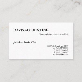 classic simple professional white business card