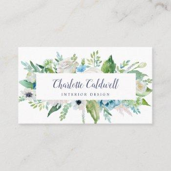 classic white flowers business card