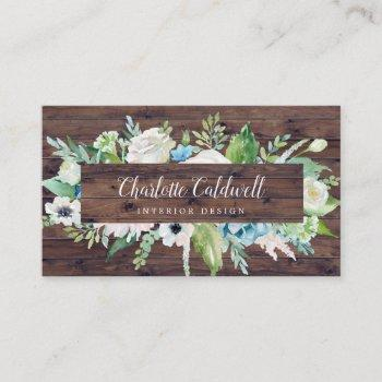 classic white flowers | rustic business card