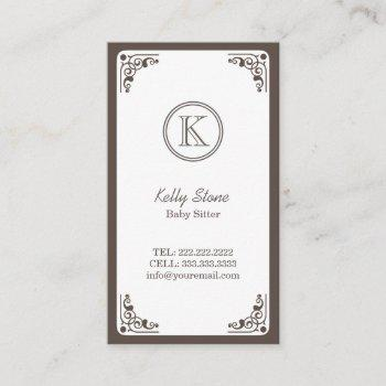 classy art deco border baby sitter business card