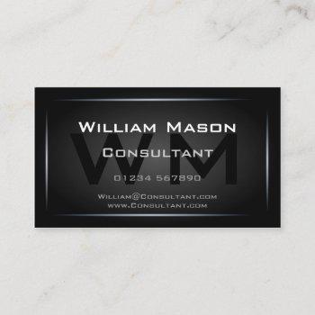 classy black framed monogram professional business card