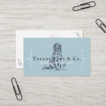 classy boutique style pet salon golden retriever business card