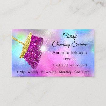 classy cleaning service maid gold fuchsia bluepink business card