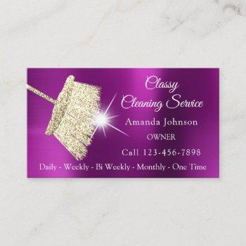 classy cleaning service maid gold fuchsia pink business card