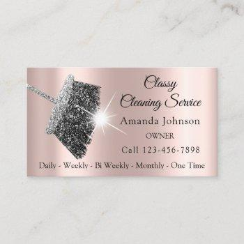 classy cleaning service maid gray silver rose business card