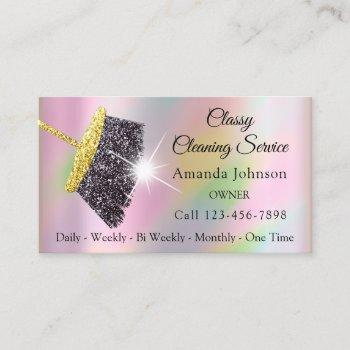 classy cleaning service maid holographic rose business card