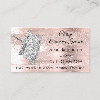 classy cleaning service maid house silver rose business card