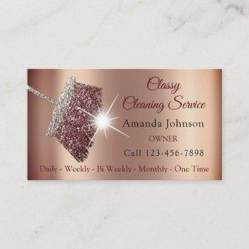 classy cleaning service maid rose silver skinny business card