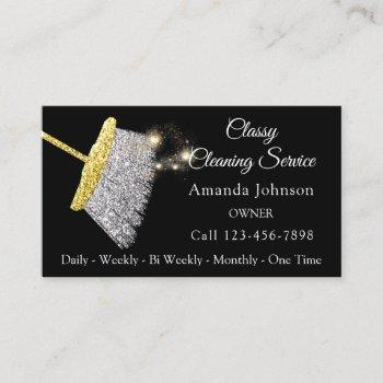 classy cleaning service maid silver gold black business card