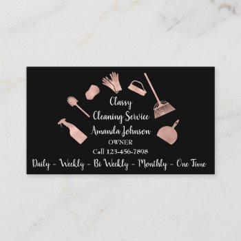 classy cleaning services gold logo maid rose glam business card
