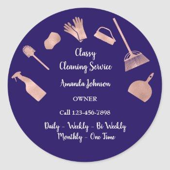 classy cleaning services gold logo maid rose navy classic round sticker