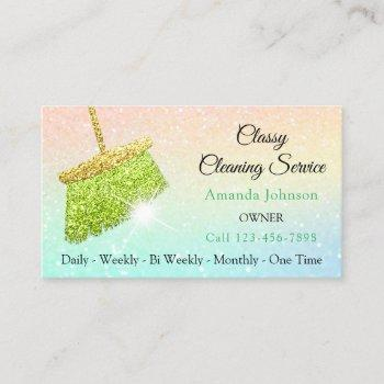 classy cleaning services holograph ombre glitter business card