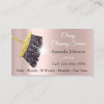classy cleaning services maid gold silver rose business card