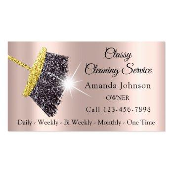 Small Classy Cleaning Services Maid Silver Rose House Business Card Magnet Front View