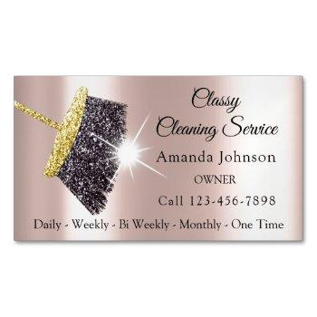 classy cleaning services maid silver rose house business card magnet