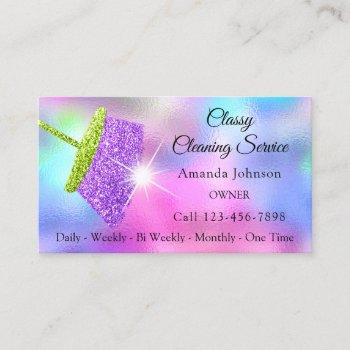 classy cleaning services pink purple glitter business card