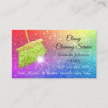 classy cleaning services rainbow spark glitter business card