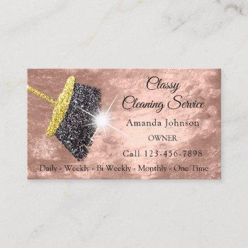 classy cleaning services rose gold glitter leather business card