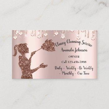 classy cleaning services rose logo maid drips business card