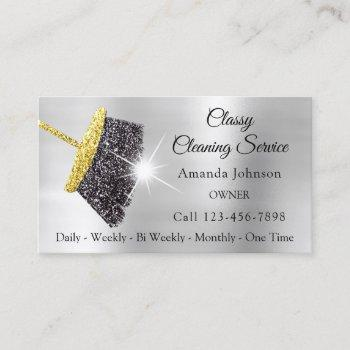 classy cleaning services silver gold glitter black business card