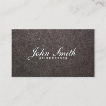 classy dark leather hairdresser business card