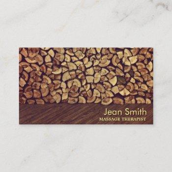 classy firewood massage therapist business card
