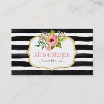 classy floral watercolor black white striped business card