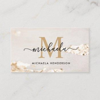 classy gold foil monogram initial & name business card