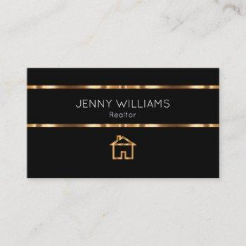classy gold real estate house theme business card