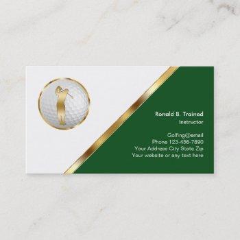 classy golf training business card