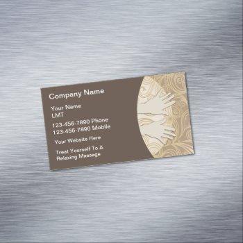 classy massage hands modern business card magnet