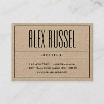 classy modern professional black on kraft paper business card