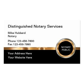 Small Classy Notary Public Services Business Card Front View