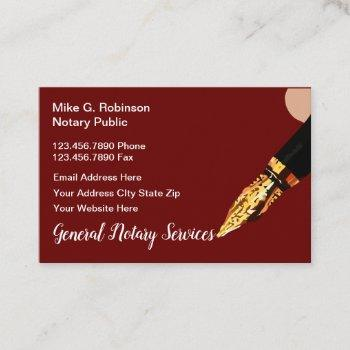 classy notary public services business card